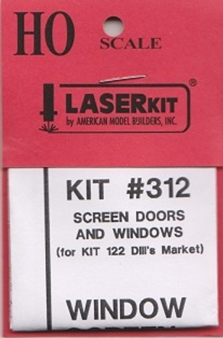 American Model Builders HO 312 Screen Doors and Windows for HO Kit #122, Dill's Market