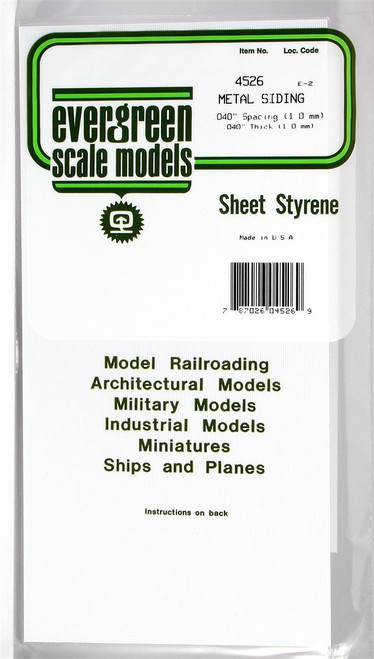 """Evergreen Scale Models 4526 Corrugated Metal Siding .040"""""""
