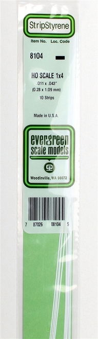 "Evergreen Scale Models HO 8106 Strip .011"" x .066"" (10)"