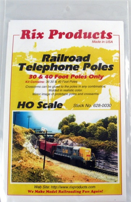Rix Products HO 628-0030 Railroad Telephone Poles, 30' and 40' Poles Only (36 pieces)