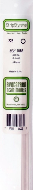 """Evergreen Scale Models 223 Round Tubing 3/32"""" (6)"""
