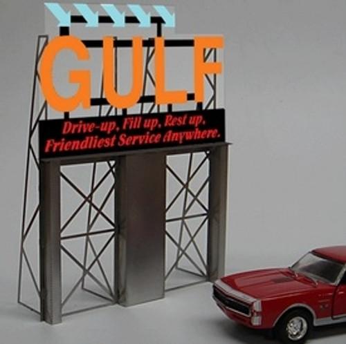 Miller Engineering HO/O 8181 Gulf Billboard, Animated Neon Style Sign Kit