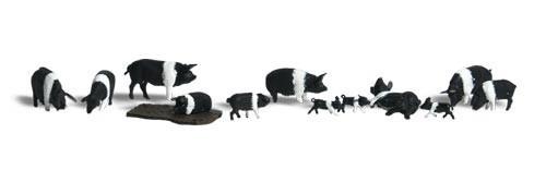 Woodland Scenics HO A1864 Hampshire Pigs