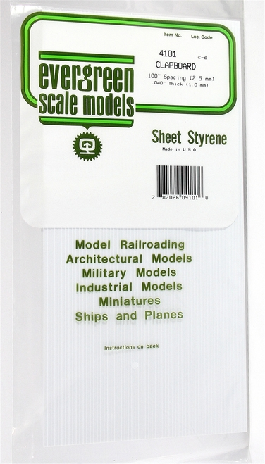 "Evergreen Scale Models 4101 .100"" Clapboard Siding"