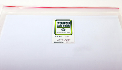 "Evergreen Scale Models 9210 11"" x 14"" Plain White Sheet .010"""