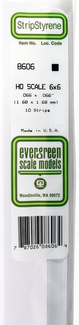 """Evergreen Scale Models HO 8608 Strip .066"""" x .090"""" (10)"""