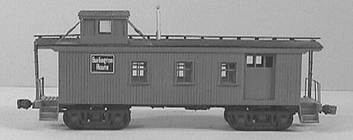 American Model Builders HO 858 CB&Q Burlington Route 30' Wood Side Door Waycar-Cupola Caboose Kit