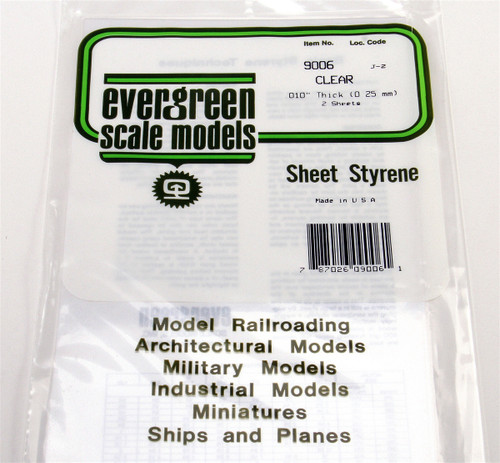 "Evergreen Scale Models 9006 Clear Sheet .010"" (2)"