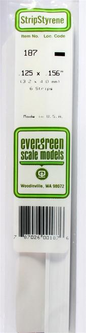 "Evergreen Scale Models 187 Strip .125"" x .156"" (6)"