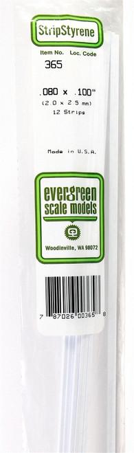 "Evergreen Scale Models 365 24"" Strip Pack .080"" x .100"" (12)"