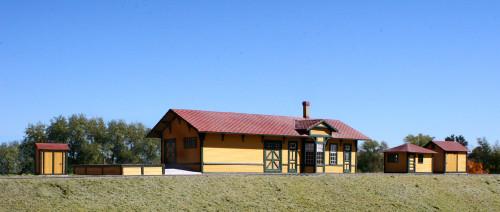 American Model Builders HO 806 Laser-Cut Wood Kit, Santa Fe Branchline Station Combo (5 kits)