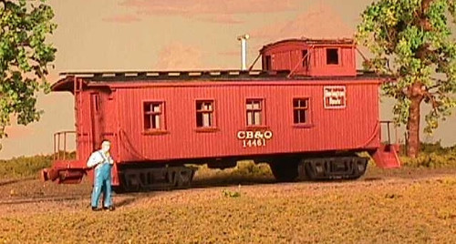 American Model Builders HO 855 CB&Q Burlington Route 30' Wood Waycar-Cupola Caboose Kit