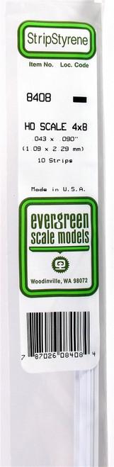 """Evergreen Scale Models HO 8410 Strip .043"""" x .112"""" (10)"""