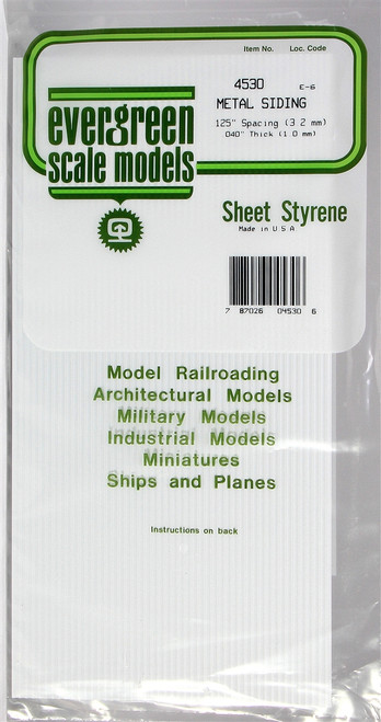 """Evergreen Scale Models 4530 Corrugated Metal Siding .125"""""""