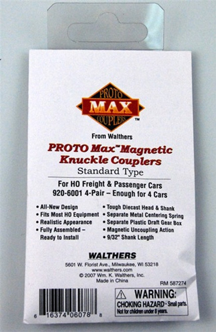 Walthers Proto Max HO 6001 Magnetic Knuckle Couplers, Standard Type (4 Pair)