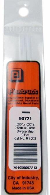 """Plastruct 90721 MS-203 Solid Styrene Rectangular Strip, .030"""" (10)"""