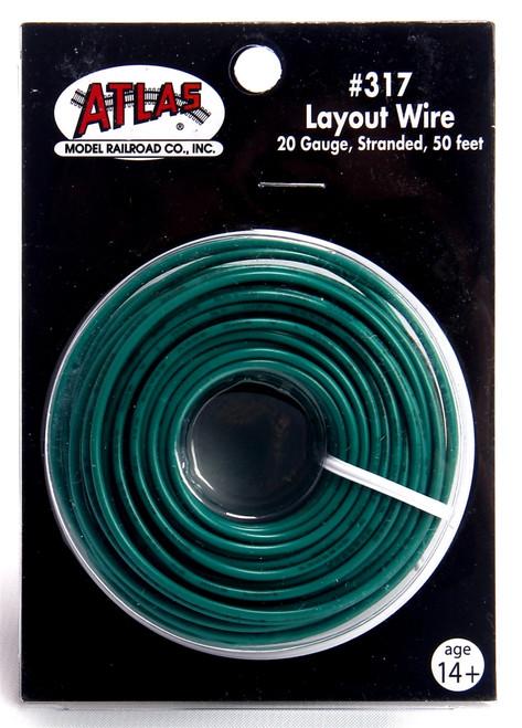 Atlas 317 50' Green 20 Gauge Stranded Layout Wire