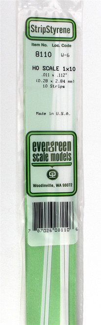 "Evergreen Scale Models HO 8110 Strip .011"" x .112"" (10)"