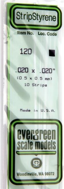 "Evergreen Scale Models 120 .020"" x .020"" Strip Styrene (10)"