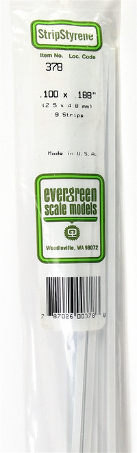 "Evergreen Scale Models 378 24"" Strip Pack .100"" x .188"" (9)"