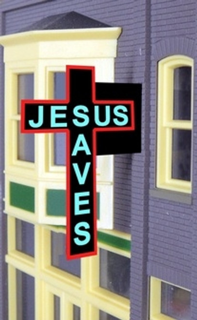 Miller Engineering HO/O 9071 Jesus Saves, Animated Neon Style Sign Kit