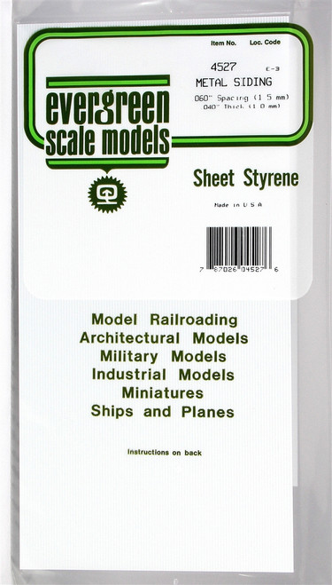 Evergreen Scale Models 4527 Corrugated Metal Siding .060""