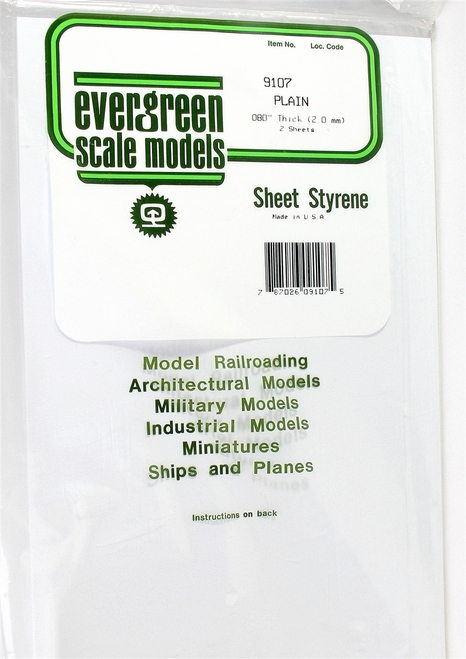 "Evergreen Scale Models 9107 8"" x 21"" Plain White Sheet .080"" (2)"