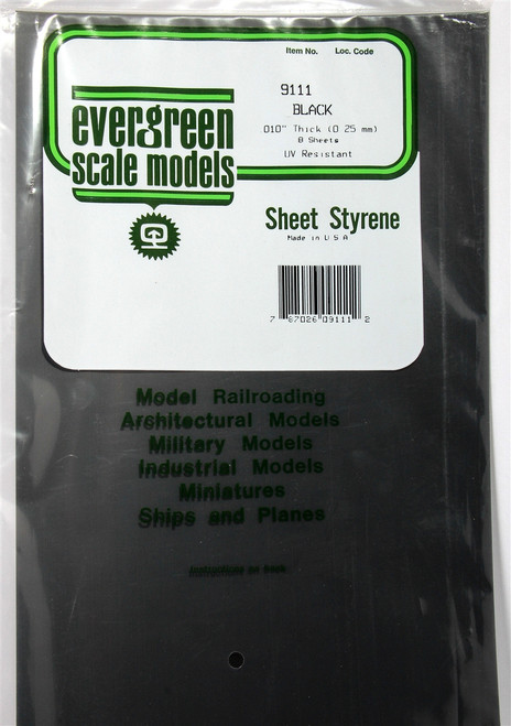 "Evergreen Scale Models 9111 8"" x 21"" Black Styrene Sheets .010"" (8)"