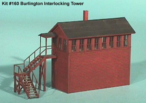 "American Model Builders HO 160 Laser Wood Cut Kit, Chicago Burlington and Quincy Interlocking ""Wood Tower"" (d)"