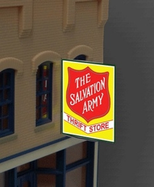 Miller Engineering HO/O 6381 Large Salvation Army Thrift, Animated Neon Style Sign Kit