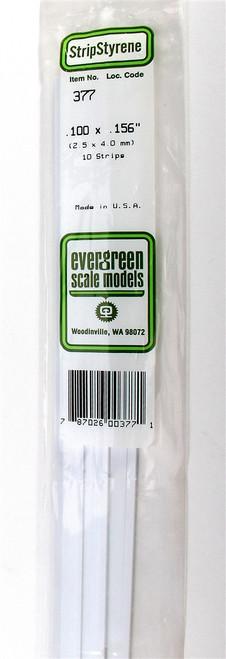 "Evergreen Scale Models 377 24"" Strip Pack .100"" x .156"" (10)"