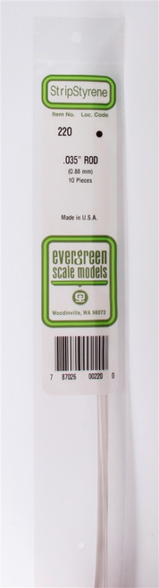 "Evergreen Scale Models 220 Round Rod .035"" (10)"