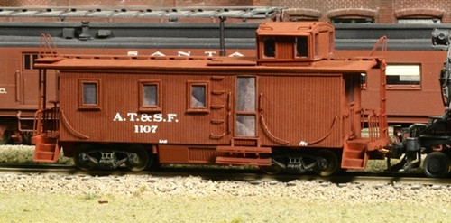American Model Builders HO 875 Atchison Topeka and Santa Fe Wood Side Door Cupola Caboose Kit