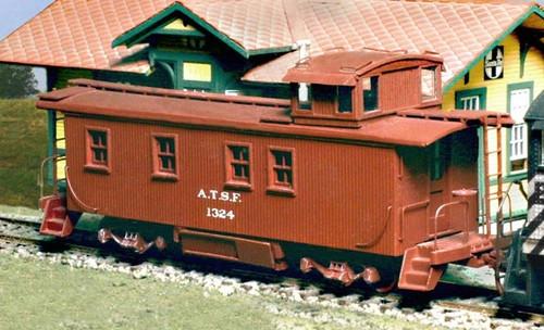 American Model Builders HO 865 Atchison Topeka and Santa Fe Wood Cupola Caboose Kit
