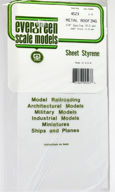 "Evergreen Scale Models 4523 Standing Seam Roof 3/8"" Spacing"