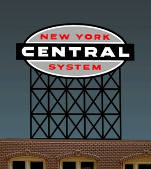 Miller Engineering HO/O 4581 New York Central Railroad Billboard, Animated Neon Style Sign Kit