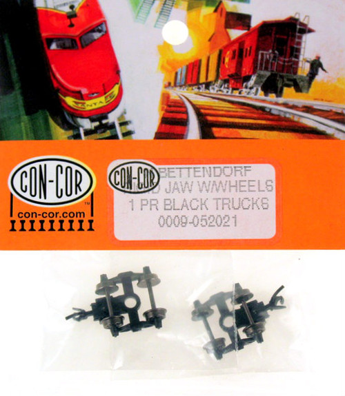 Con-Cor N 0009-052021 Bettendorf Trucks with Metal Wheels and Rigid Jaw Knuckle Coupler (1 pair)