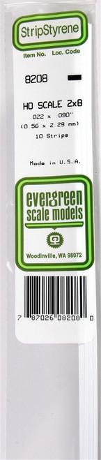 """Evergreen Scale Models HO 8208 Strip .022"""" x .090"""" (10)"""