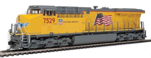 Walthers Mainline HO 910-20162 GE ES44AH Evolution Series GEVO Locomotive, SoundTraxx(R) Sound & DCC, Union Pacific(R) #7529 (yellow, gray, US Flag)