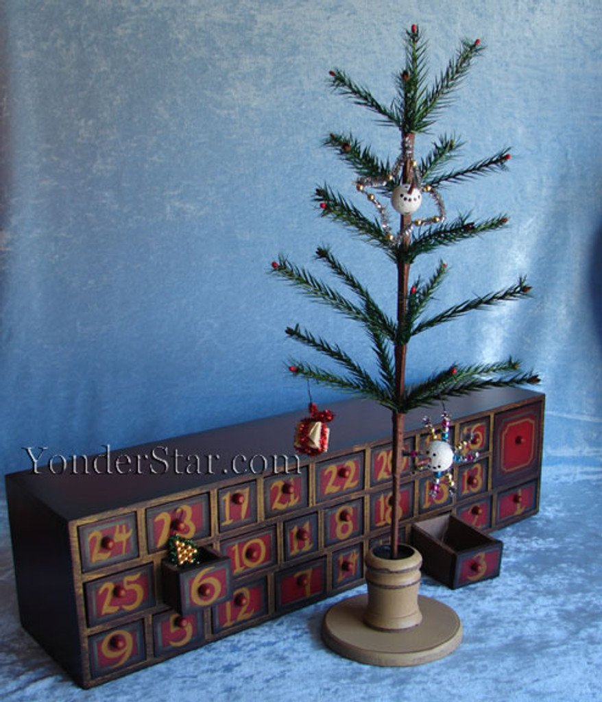 Wooden Advent Calendar Chest of Drawers w Tree and Ornaments