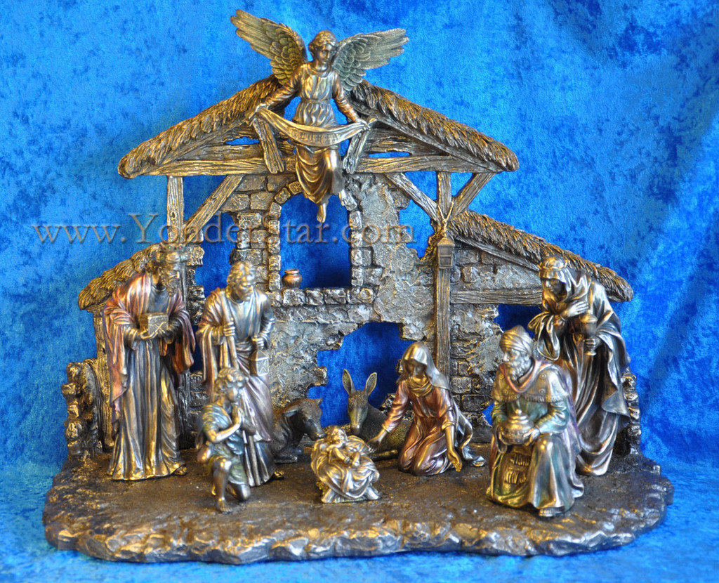 Bronze Nativity Set 10 pieces w Stable