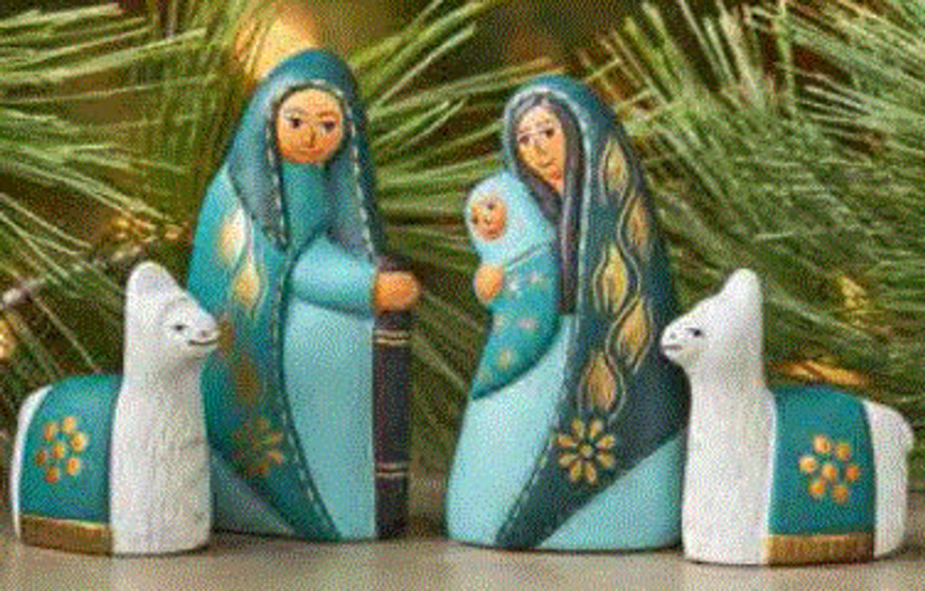 Teal and turquoise nativity