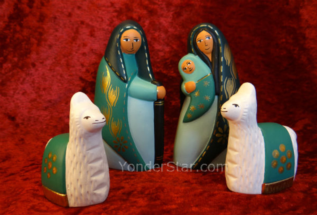 Teal and Turquoise Nativity Set