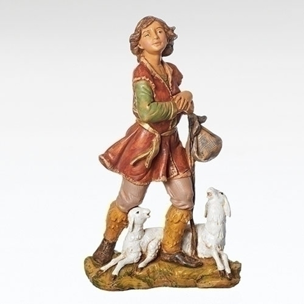 "Paul - 12"" scale Fontanini Shepherd with Sheep"
