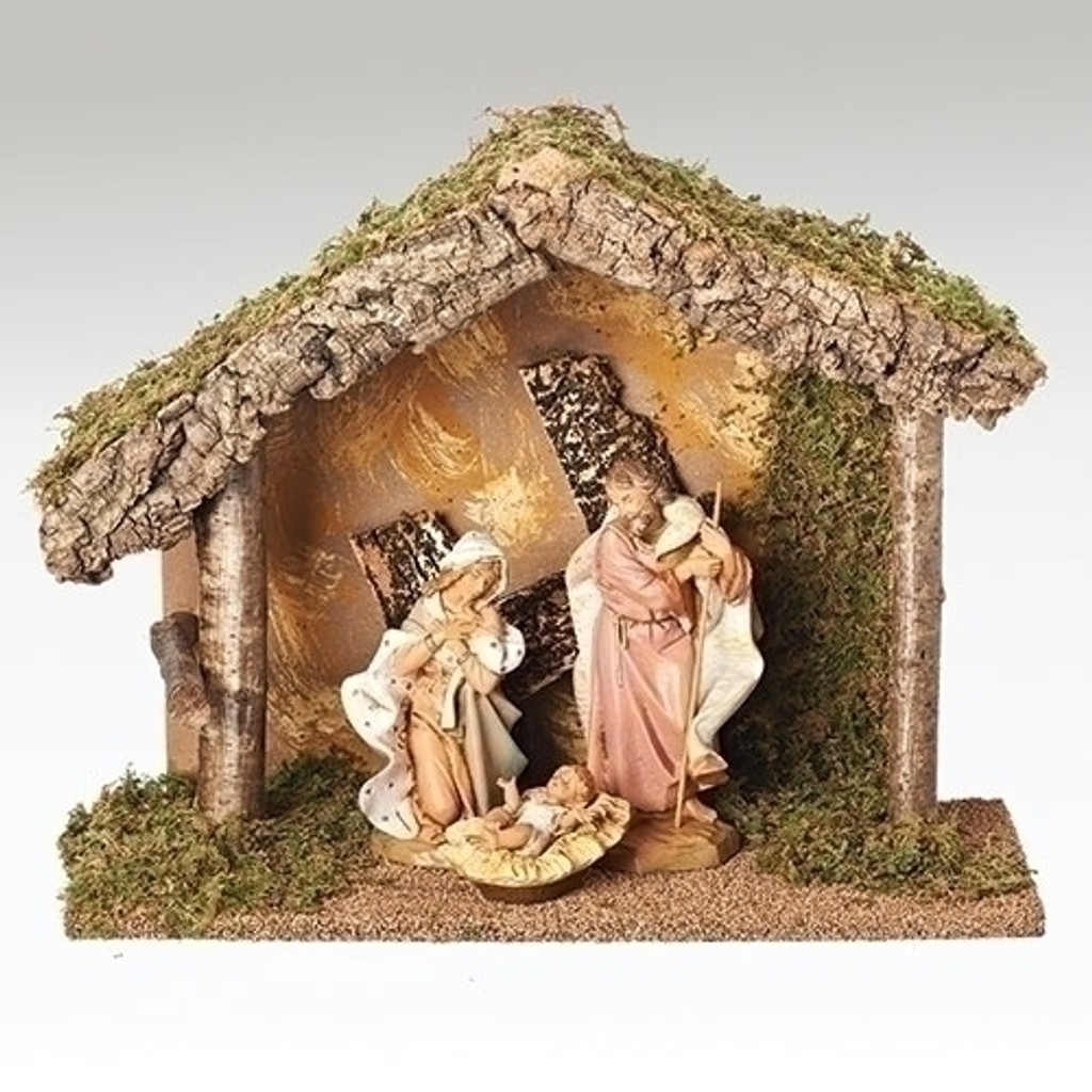 """12.75"""" Wooden STable for 7.5"""" Fontanini Nativity  (figures not included)"""