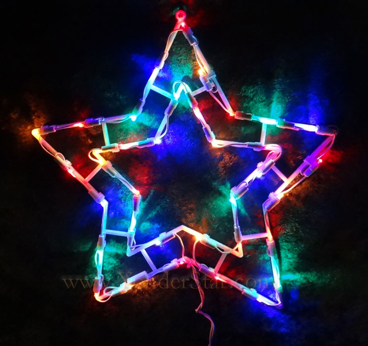 15 outdoor lighted star multi colored led lights