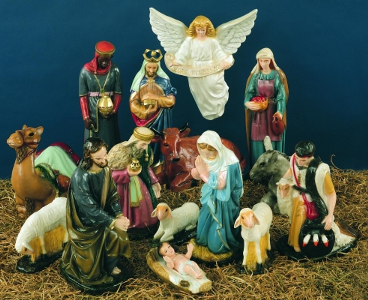 36 full color outdoor nativity scene 15 pieces