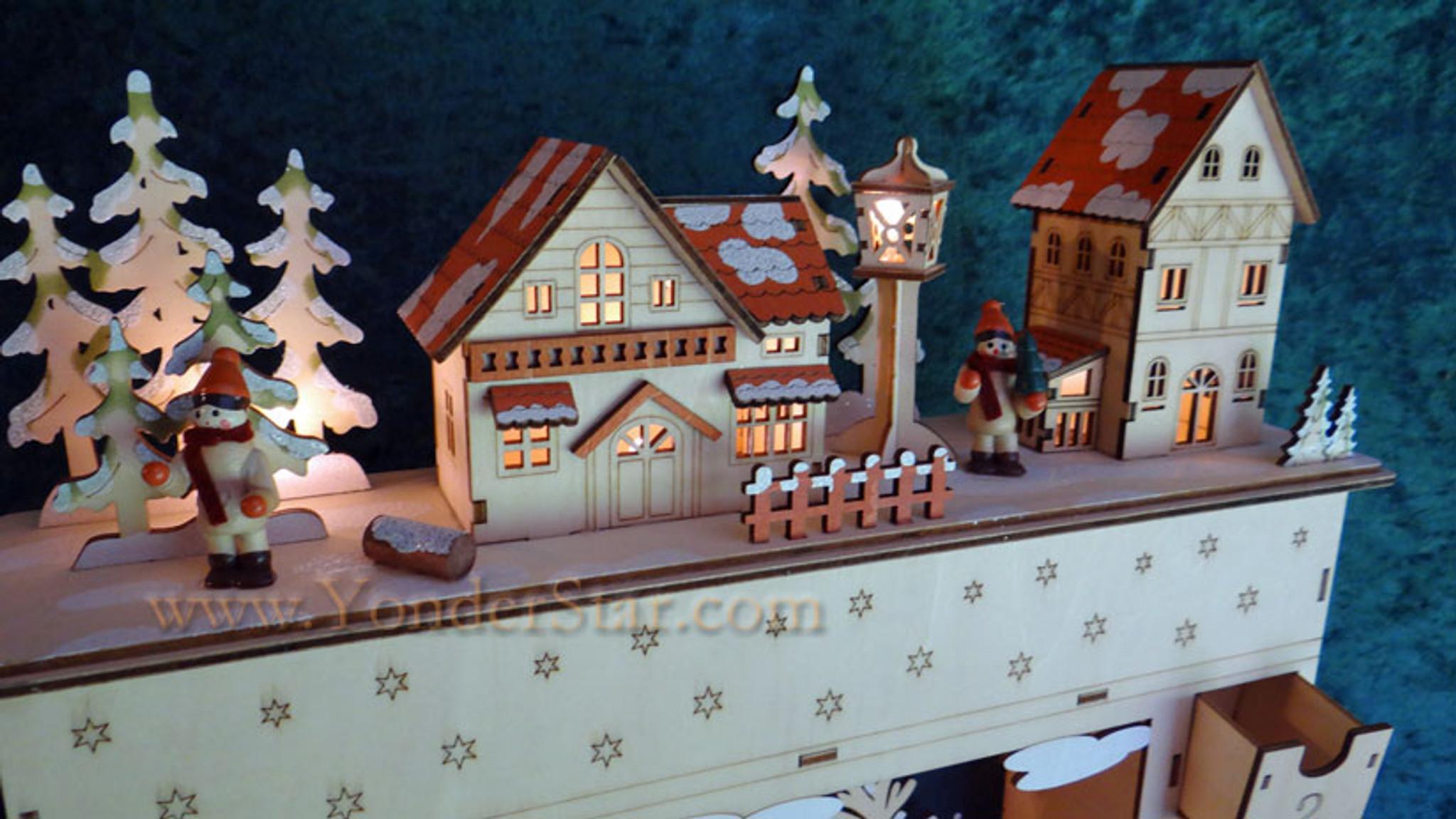 Lighted Wooden Advent Calendar Pre Order Yonder Star