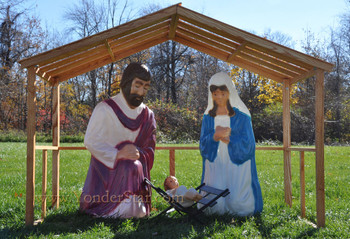 Life size outdoor nativity sets yonderstar life size outdoor nativity and wooden stable aloadofball Choice Image