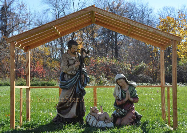 Outdoor nativity set with stable.